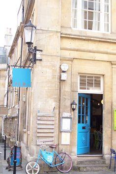 The blue door and sign! Cafe Design, Doors, Blue, Cafeteria Design, Gate