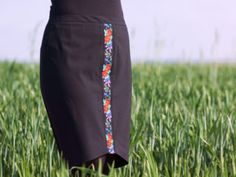 Classic black skirt with floral embroidered tape, sewing blog
