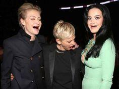 Katy Perry, Ellen DeGeneres and Portia de Rossi.