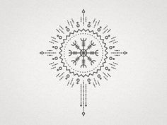 A small mandala inspired by the Icelandic stave-rune 'Ægishjálmur' or 'The Helm of Awe'.