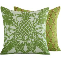 Green Pineapple Outdoor Throw Pillow Cover by ChloeandOliveDotCom, $38.00