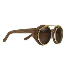 LOUIS VUITTON - Handcrafted wood frame sunglasses with gold-rimmed brown lenses. Wooden Sunglasses, Ray Ban Sunglasses, Nice Glasses, Mens Glasses, Four Eyes, Eyeglasses, Eyewear, Fashion Accessories, Louis Vuitton