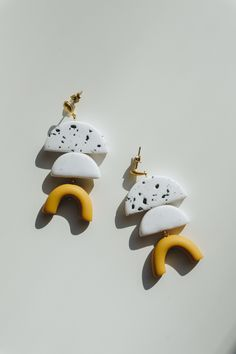 NEW - Simple, delicate yellow and white speckled drop-stud polymer clay earrings. Modern, unique design, soft colors. Spring inspired.