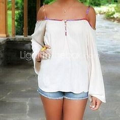 Women's Print White/Red T-shirt,Sexy Strap Long Sleeve Backless - USD $6.99