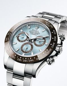 Rolex Cosmograph Daytona in 950 platinum, with the exclusive ice blue dial reserved for Rolex watches in platinum.