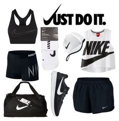 """Nike black and white "" by kylie-the-cross-country-runner ❤ liked on Polyvore featuring NIKE"