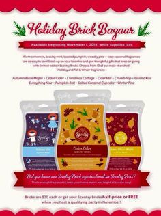 Bricks are back!! Available November 1st while supplies last! https://kschwoch.scentsy.us/