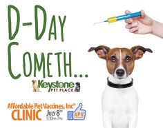 Tuesday, July 8th from 5:30pm-7pm we're hosting our monthly pet vaccine clinic.