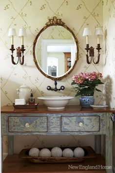vessel sink on vintage vanity ~ love the faucets mounted on the wall ~ Rooney Robison Antiques...Our Style File!