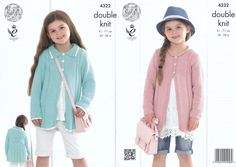 King Cole Double Knitting Pattern - Girls Coats (4322) - Mill Outlets