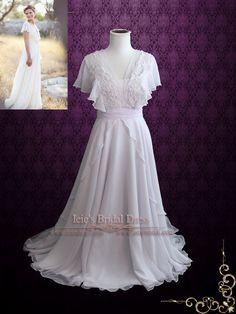 Beach Whimsical Grecian Chiffon Wedding Dress with Butterfly Sleeves | | ieie Bridal
