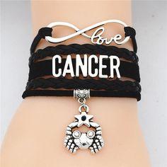 Cancer Love Leather Bracelet