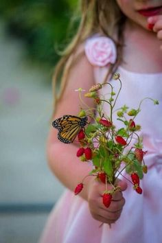 Little girls in pink, flowers, and butterflies