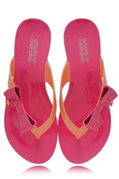 COLORS OF CALIFORNIA RIBBON Fuchsia Orange Flip Flops - SHOES | FLATS | Sandals | PRET-A-BEAUTE.COM