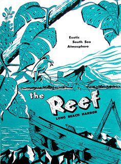 The Reef Restaurant, Long Beach CA, vintage souvenir menu