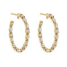 Ivanka Trump Mixed-Cut Diamond Gold Hoop Earrings