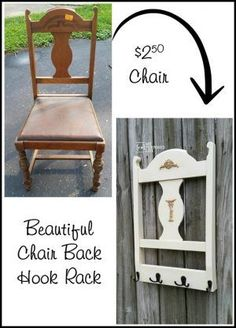 Repurposed Chair Back Coat Rack | This diy project creates a new coat rack from an old chair! See the step by step tutorial to make your own. My Repurposed Life for Today's Creative Life