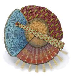 "Kathleen Dustin, Tribal Brooch with Brush, 2014, 3 1/2"" diameter, polymer, horsehair"