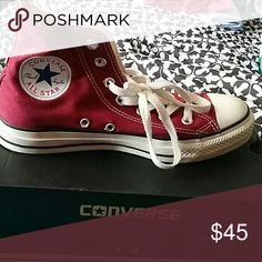 Burgundy High Top Converse Size 7  Only worn twice Converse Shoes Sneakers