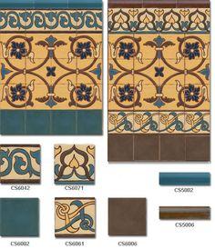 Zócalo de azulejos cuerda seca estilo rústico modelo 8034