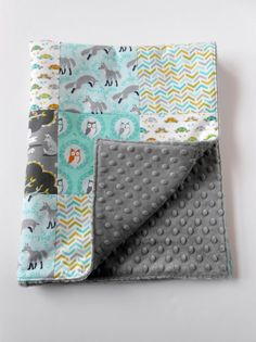 Minky Patchwork Baby Blanket Quilt Michael by KristensCoverlets, $45.00