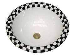 Marzi Rectangular Drop-In or Undermount Sink - The Marzi Rectangular Drop-In or Undermount Sink has a hand-painted black & white checkers design on rim. Drop-in installation.