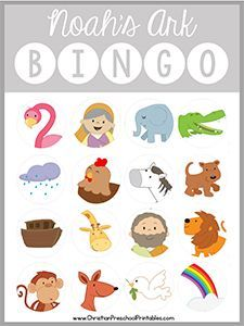 Download Here This is a free printable Noah's Ark BibleBingo game. With six different game boards this set is print ready and the perfect addition to your Noah's Arklessons plans. Each bingo board prints two to a page, however you can adjust your printer settings to make the gameboards smaller if desired. Be sure to …