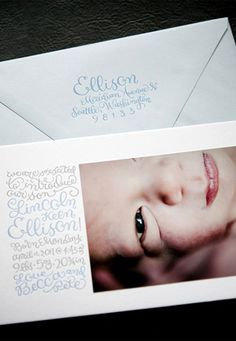 Custom Calligraphy Letterpress Photo Baby Announcements | Oh So Beautiful Paper