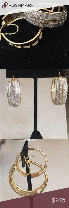 Large Genuine 2 Carat Diamond 14K hoop earrings These are stunning 2 CTTW Diamond earrings that are 14K Gold plated over brass, making this an affordable beautiful gift. There are 152 diamonds. Jewelry Earrings