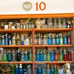 Lovely colored glass bottles in Budapest - Ecseri Flea Market
