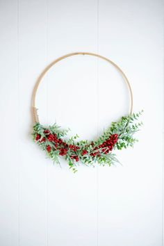 Modern eucalyptus and red berry 14 hoop wreath with jute twine accent! Perfect for your door, entryway, gallery wall, or on a shelf with holiday decor Holiday Gifts, Holiday Decor, Jute Twine, Red Berries, Christmas Holidays, Gallery Wall, Wreaths, Handmade Gifts, Hoop