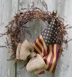 Patriotic Decorations | ... Wreath, Primitive Door Décor, Rustic, Patriotic, Tea Stained Flag