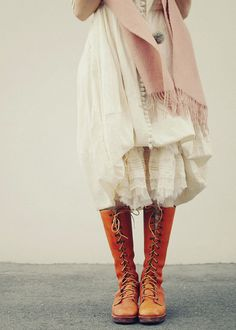 layers of lace and but would be nice with a different color lace up boots
