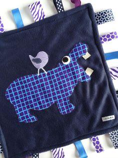 Minky Fleece Tag Blanket Hippopotamus, Hippo and Bird in Navy Blue and Purple