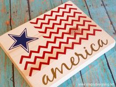 4th of July American Chevron Flag vinyl wood decor! This would be cute adding a hanger at the top to use on the door.