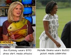 """Ann Romney wears a $ 990 dollar dress shirt and the media ATTACK her as wealthy, out of touch, and her husband's campaign as """"tone deaf.""""   Michelle Obama wears a $ 6800 jacket and the same people CELEBRATE her elegant style as """"fit for a queen."""" the obamas are rich assholes that pretend theyre just like everyone else...they smooze with billionaires too"""
