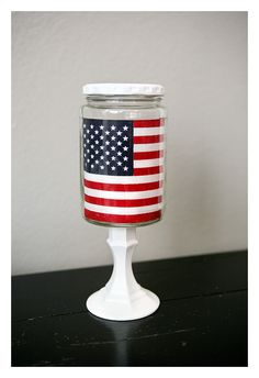 4th of July decorations - simple and easy using flags from the dollar section