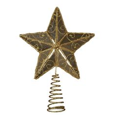 AmazonSmile - Kurt Adler 6-1/4-Inch Gold Wire Star Treetop - Christmas Tree Toppers