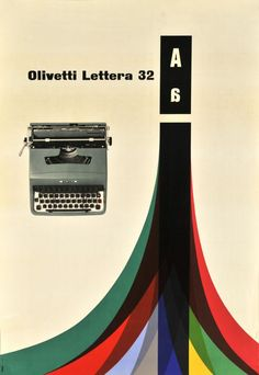 Olivetti Lettera 32 Poster Designed by Giovanni Pintori, 1960 Graphic Design Posters, Modern Graphic Design, Graphic Design Typography, Retro Design, Poster Designs, Gfx Design, Layout Design, Design Art, Print Design
