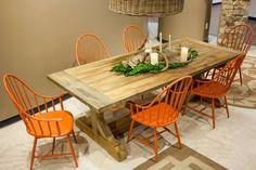 Fabulous cast iron Windsor chairs in orange!