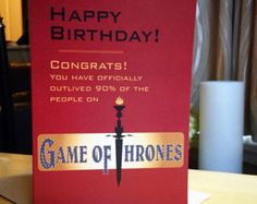 Game of Thrones Birthday Card Tarjetas de series y pelculas