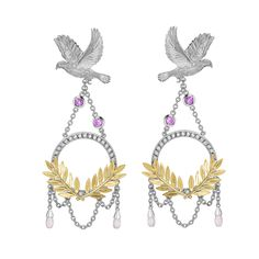 Theo Fennell Dove & Olive Branch Drop Earrings in 18ct white and yellow gold, set with 1.02ct pink sapphires and 0.27ct diamonds (£10,950).