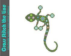 Pretty Boho lizard. Modern cross stitch pattern. Contemporary folk design