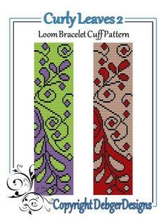 Curly Leaves 2 - Loom Bracelet Cuff Pattern