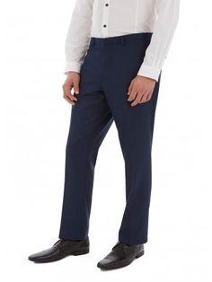 Colour: BLUE Blue contrast back collar slim fit suit trousers. Trouser Suits, Trousers, Pants, Burton Menswear, Contrast, Slim, London, Fitness, Fabric