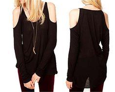 New Off Shoulder Black Long Sleeve Pullover Slim Tops Blouses Shirt T-Shirt Qiyun http://www.amazon.com/dp/B00U79WT1C/ref=cm_sw_r_pi_dp_ujWPvb1XFDDFP