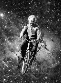 "Albert Einstein (1879-1955) testing the ""theory of relativity""?  bicycle"
