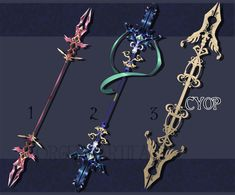 Halloween masks adopts 2 (CLOSED) by Rittik-Designs on DeviantArt Fantasy Sword, Fantasy Weapons, High Fantasy, Fantasy Art, Anime Weapons, Sword And Sorcery, Weapon Concept Art, Character Design Inspiration, Writing Inspiration