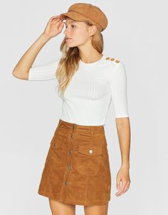 6024df351a Corduroy skirt with buttons - null   Stradivarius Switzerland