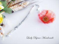 Segnalibro in metallo con pendente fiore papavero arancione fatto in sospeso trasparente, by Lady Bijoux Handmade, 9,00 € su misshobby.com